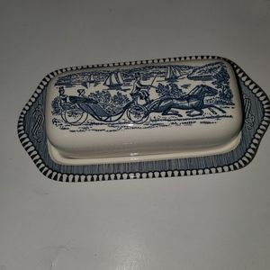 Vintage Currier and Ives Grist Mill Butter Dish